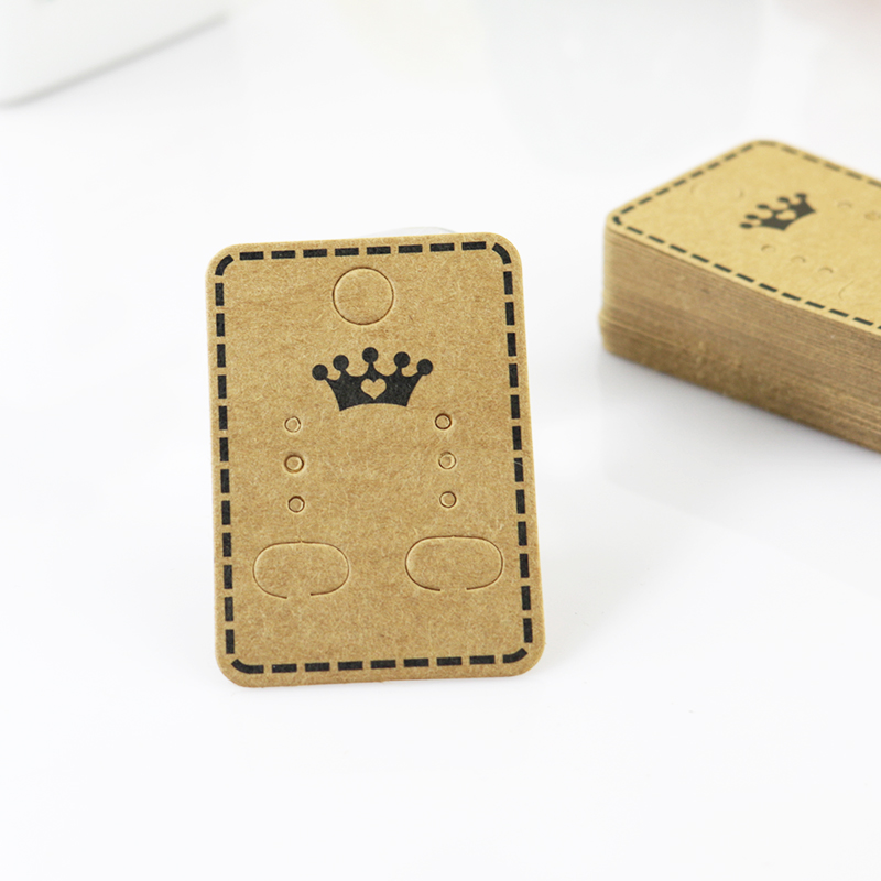 Hot! 100pcs/lot Square Kraft Paper Print Crown Earring Cards 3.2x4.5cm Ear Studs Paper Jewelry Display Cards Accept Custom logo image