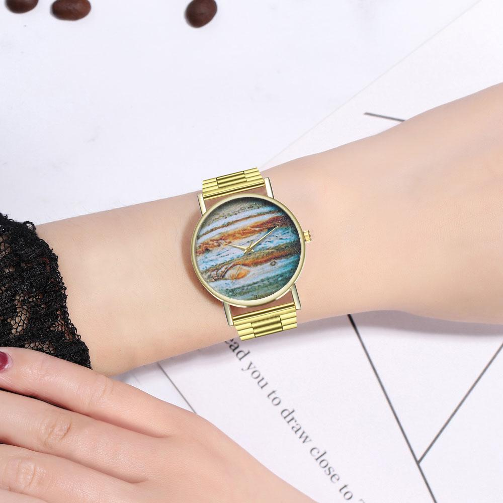 Planet Jupiter Steel Strap Ladies Mens Space Watch Birthday Wedding Gift Watches
