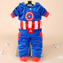 Noworodka chłopców odzież dla niemowląt jesień zima dres kapitan ameryka bluza z kapturem + spodnie kostium garnitur dla niemowląt ubrania dla zestawy dla niemowląt tanie tanio COTTON Poliester Elastan Na co dzień REGULAR O-neck Unisex Pasuje prawda na wymiar weź swój normalny rozmiar Swetry