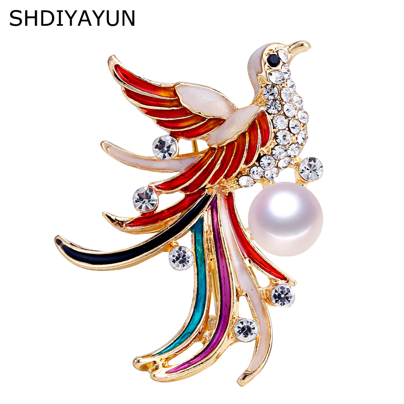 SHDIYAYUN New High Guality Pearl Brooch Phoenix Brooch For Women Gold Fashion Bird Brooch Pins Natural Freshwater Pearl Jewelry