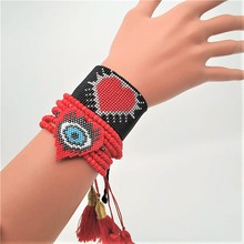 Go2boho Delica MIYUKI Bracelet Evil Eye Bracelets Heart Boho Chic Love Jewelry Lucky Pulseras Mujer 2019 Women Tassel
