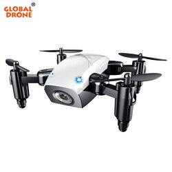 Global S9W Mini Drone Drone Braços Dobráveis Altitude Espera Uma Chave Ruturn Selfie Zangão Com Câmera HD Quadrocopter VS H31