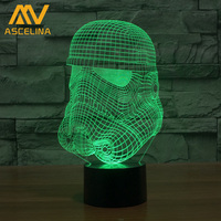 Star Wars The Force Awakens 3D Led Optical Illusions Artistic Lamp Stormtrooper Design Colorful Discoloration
