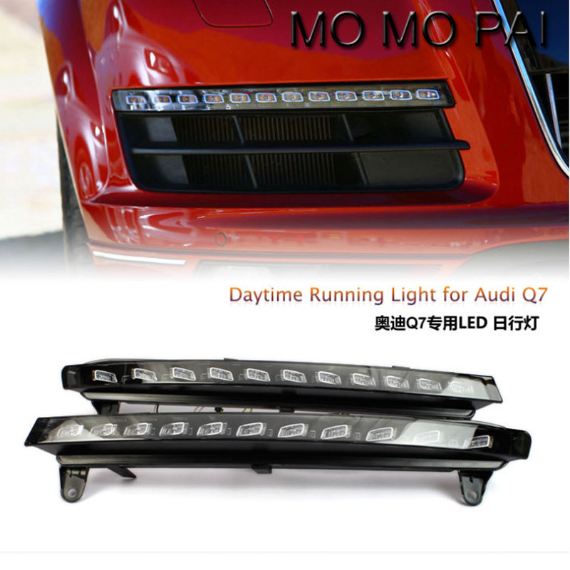 Car styling  2x LED DRL Driving Daytime Running Day Fog Lamp Light Turn Signal Fit for Audi Q7 2006-2009