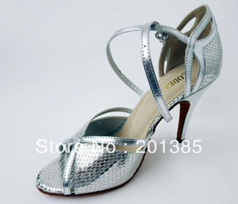 Groothandel Dames Zilver Slangenhuid Leer LATIN Ballroom Dansschoenen Salsa Tango Samba Dansschoenen ALLE FORMAAT