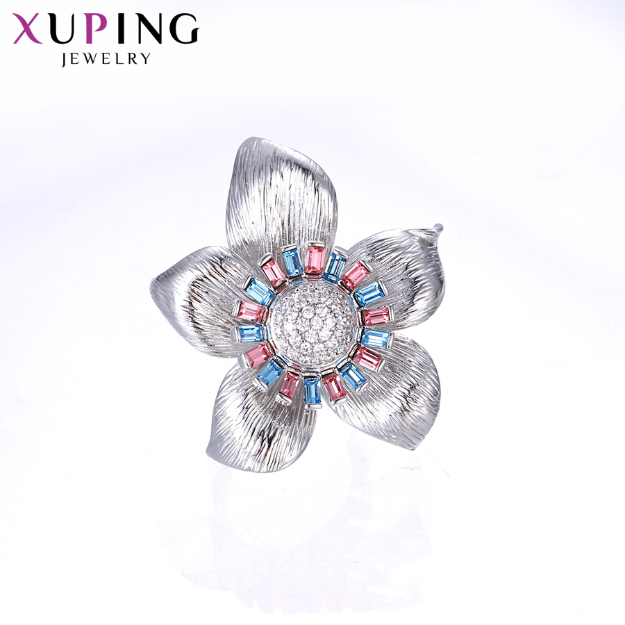 Xuping Temperament Ring for Women Big Flower Shaped Crystals from Swarovski Classical Jewelry Party Gift S142.4-15090