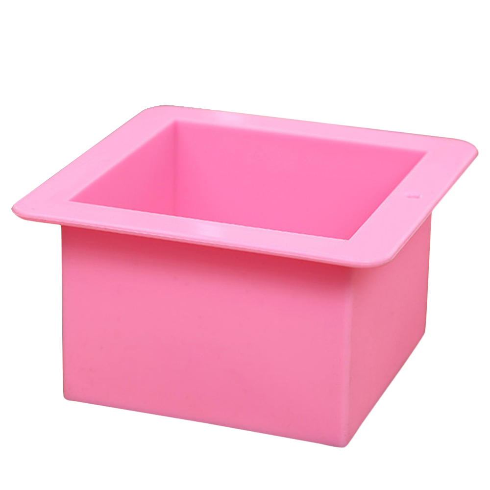 Useful Pink Square Silicone Soap Mold Silicone Cake Bakeware Tool Oval Pudding Ice Cube Bread Pastry Mould 500mL