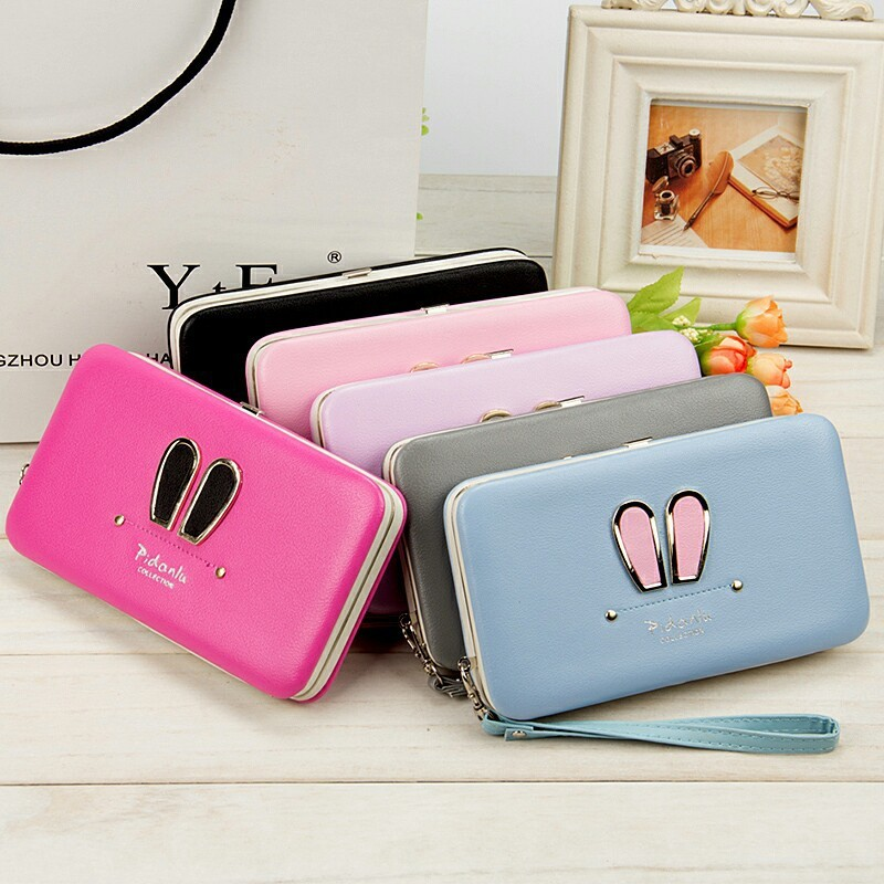 Womens Long Wallets Multi-function Symmetrical Middle Soft Iron Edge Hand Rope Mobile Phone Bit Card Holder Coin Purses Wallet