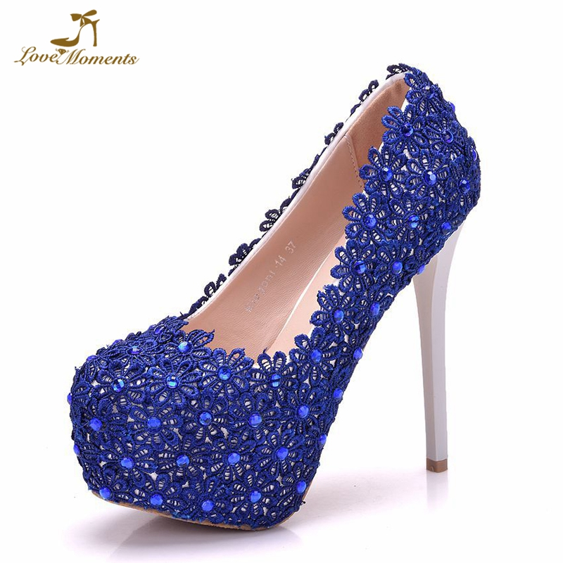 Royal Blue Lace Women Pumps 5 Inches High Heel Platform Shoes Wedding Party Prom Pumps Bridesmaid Shoes Birthday Party Heels