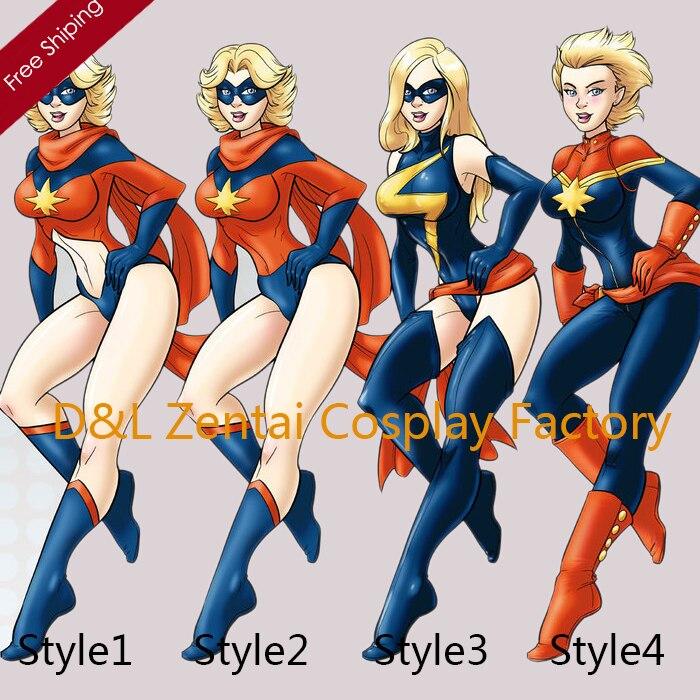 Doprava zdarma DHL paní Marvel Kostým kapitán Marvel kostým Zentai Lycra Spandex Super Hero Cosplay Halloween kostým 4 styl