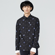 gxg.jeans men's winter black white point Slim printing youth wild long-sleeved shirt tide 64603036(China)