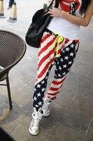 2014 New Women Harem Casual Hip Hop Dance Sweat Pants Flag Printing Slacks Trousers Sweatpants
