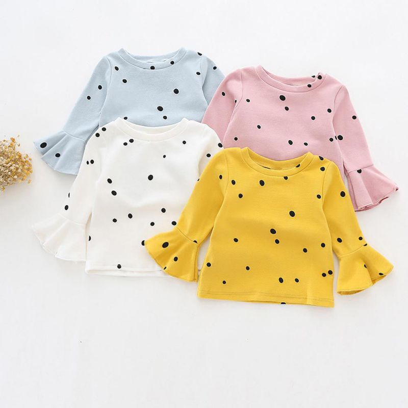 2017 Children Clothes For Baby Kids Tops Long Sleeve Girls T Shirt Cotton Dot Children's T-shirts Baby Girl Clothes fashion baby girl t shirt set cotton heart print shirt hole denim cropped trousers casual polka dot children clothing set