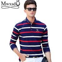 Mwxsd бренд Для мужчин в Полоску Хлопок футболки-поло Длинные рукава высокого качества Для мужчин мягкая рубашка поло мужская повседневная фу...