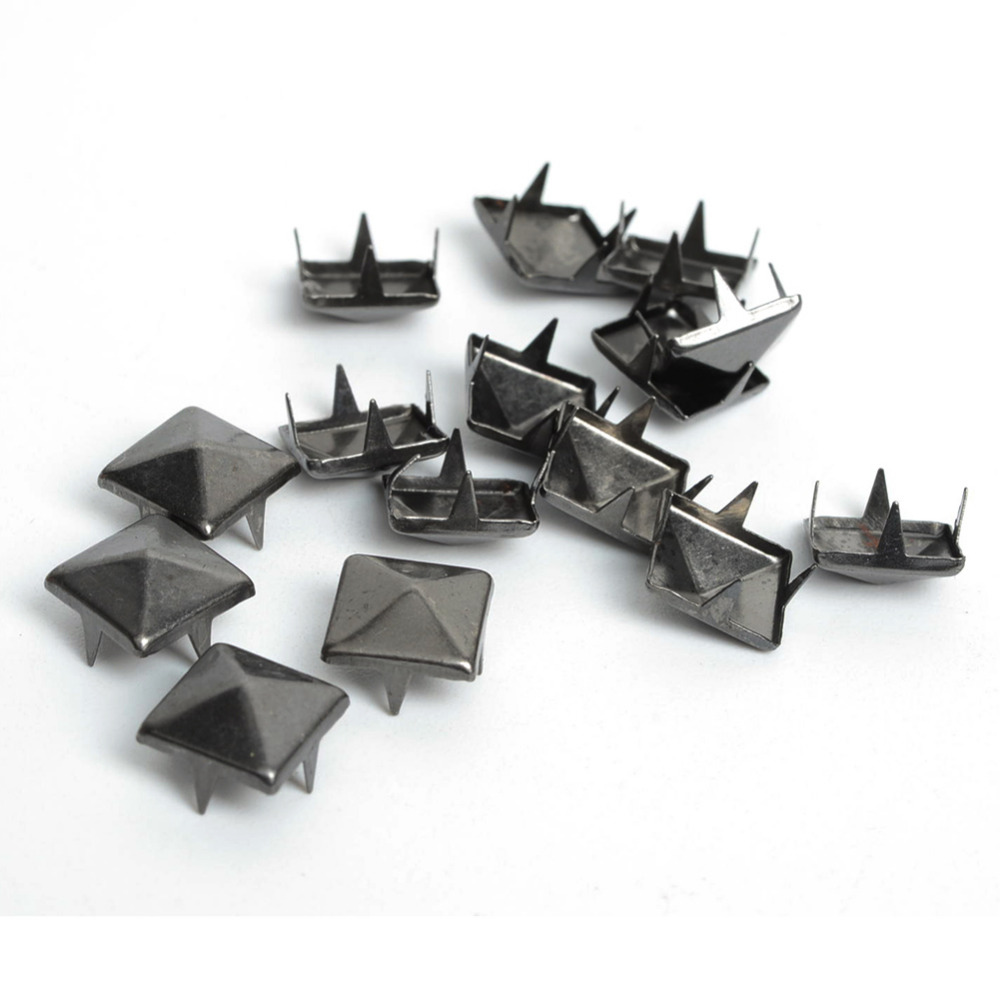 100pcs Diy 10mm Black Pyramid Studs Nailheads Rivet Spike Punk Bag Bracelets Clothes Belt