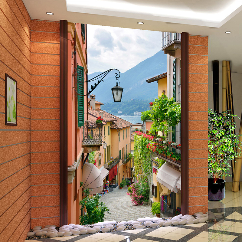 Photo wallpaper european small town landscape 3d stereo for Wallpaper for home entrance