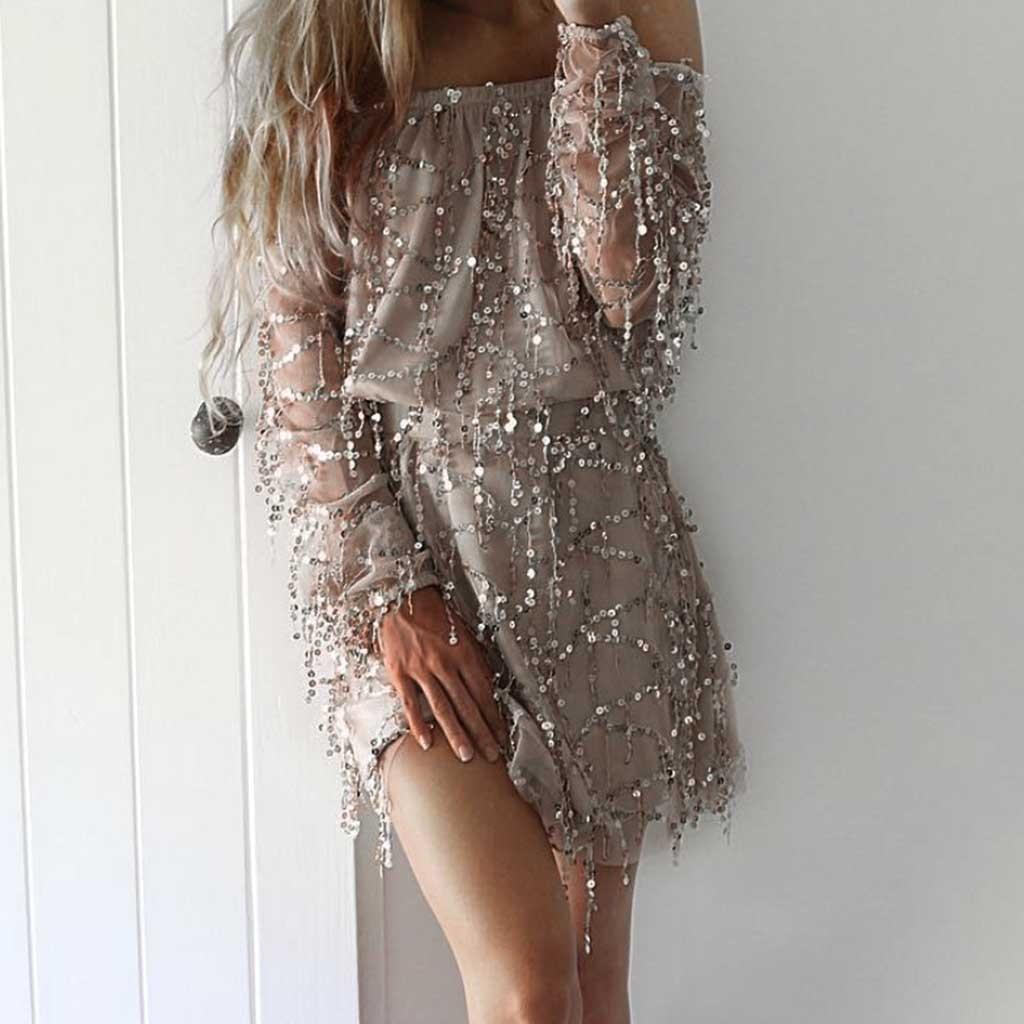 2019 new dress Women's Sexy Slach-Neck Sparkle Sequin Long Sleeve Camis Party Mini Dress elegant plus size women dress vestidos