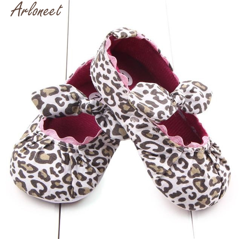 2017 new Toddler Kids Baby Girls Leopard Elastic band Bowknot Newborn Shoes high quality