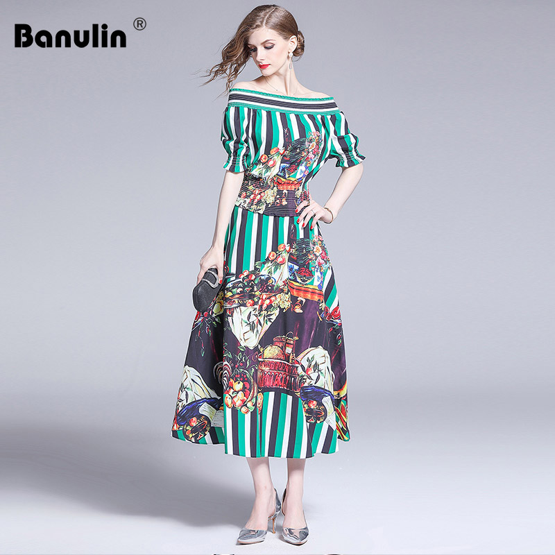 Banulin Fashion Designer Summer Runway Suits Womens Elastic Tops and Floral Printed Elegant Vintage Vacation Skirt 2 Pieces Set