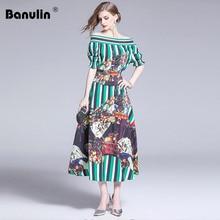 Banulin Fashion Designer Summer Runway Suits Womens Elastic Tops and Floral Printed Elegant Vintage Vacation Skirt 2 Pieces Set