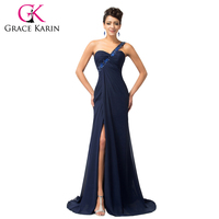 Free Shipping 1pc Lot Grace Karin 5 Colors Stock One Shoulder Beadings Long Formal Evening Party