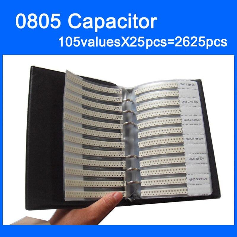 Новый конденсатор 0805 SMD, книга образцов 105valuesX25pcs = 2625 шт. 0,5 пФ ~ 10 мкФ, набор различных конденсаторов в упаковке