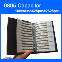 החדש 0805 SMD קבלים מדגם ספר 105valuesX25pcs = 2625pcs 0.5PF ~ 10UF קבלים מבחר ערכת חבילה
