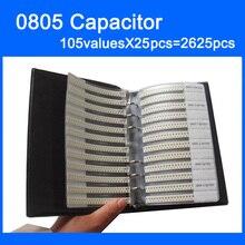 New 0805 SMD Capacitor Sample Book 105valuesX25pcs=2625pcs 0.5PF~10UF Capacitor Assortment Kit Pack