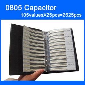 Image 1 - Nouveau 0805 SMD condensateur échantillon livre 105valuesX25pcs = 2625 pièces 0.5PF ~ 10UF condensateur assortiment Kit Pack