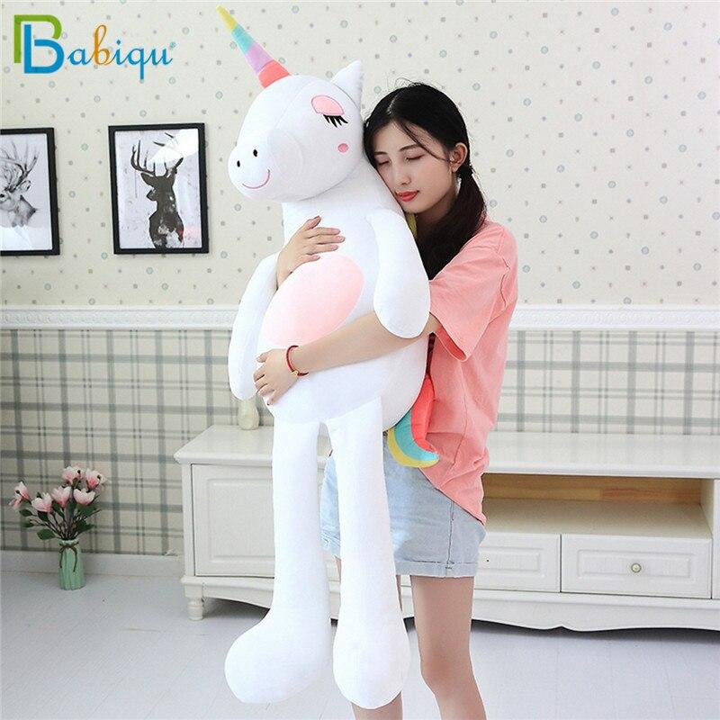 1pc 60-160cm Kawaii Rainbow Unicorn Plush Toys Stuffed Animal Horse Plush Doll For Children Kids Appease Toy Gift For Girls