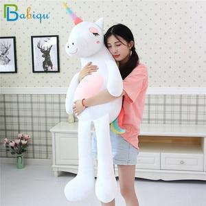 Image 1 - 1pc 60 160cm Kawaii Rainbow Unicorn Plush Toys Stuffed Animal Horse Plush Doll for Children Kids Appease Toy Gift for Girls