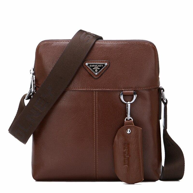 ФОТО 2016 New Genuine Leather Men Bag Classical Messenger Bag Men Fashion Casual Business Shoulder Handbags for Men Bag Bolsas sg23