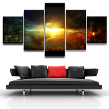 Modern Home Wall Art Decor Frame Modular Canvas Oil Pictures HD Print Painting 5 Panel Landscape Of Volcanic Eruptions Poster