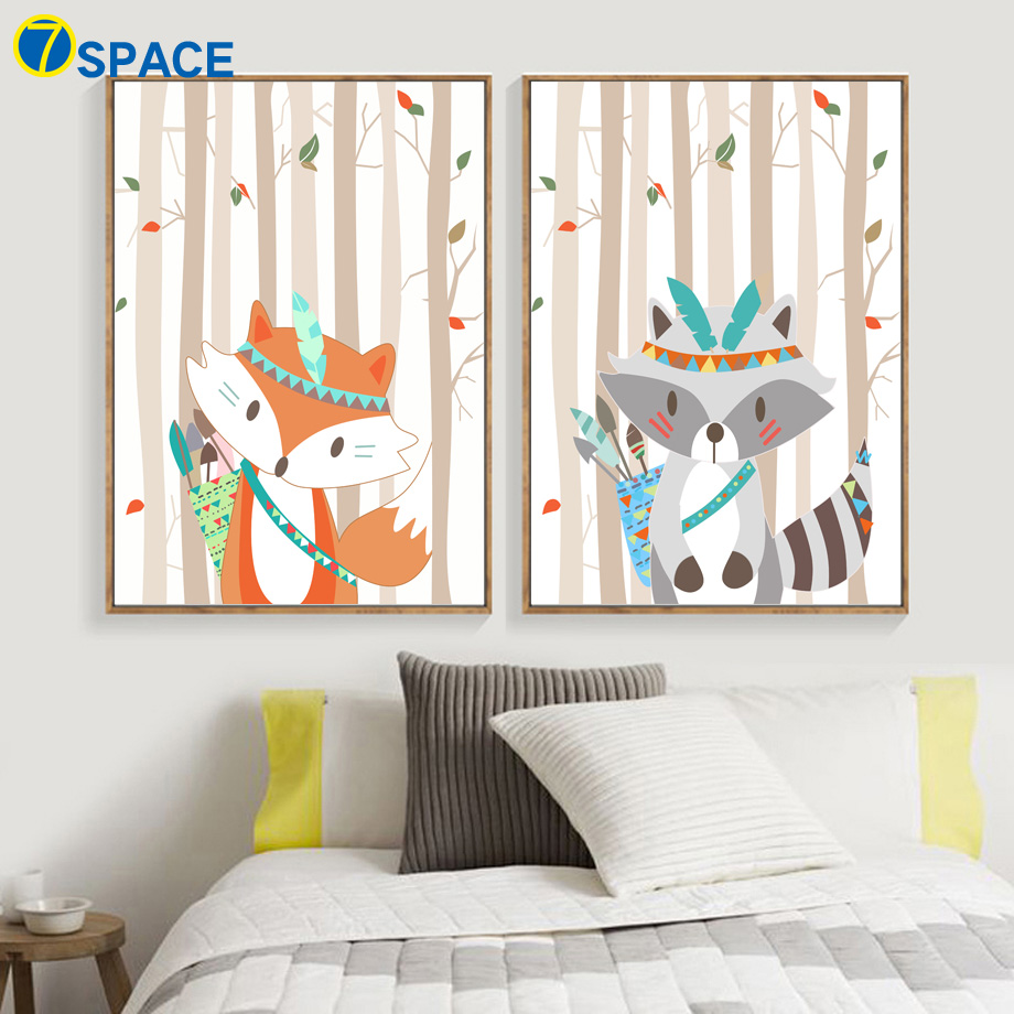Fox Raccoon Forest Canvas Painting Nordic Poster Wall Art