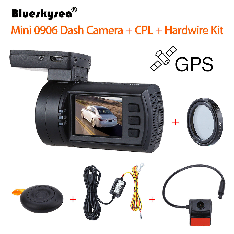 Blueskysea 0906 1080 p 1.5 LCD Voiture DVR GPS IMX291 Nuit Vision G-Capteur Caméra Enregistreur Tableau de Bord + CPL Lens + Câblé Kit Dash Cam