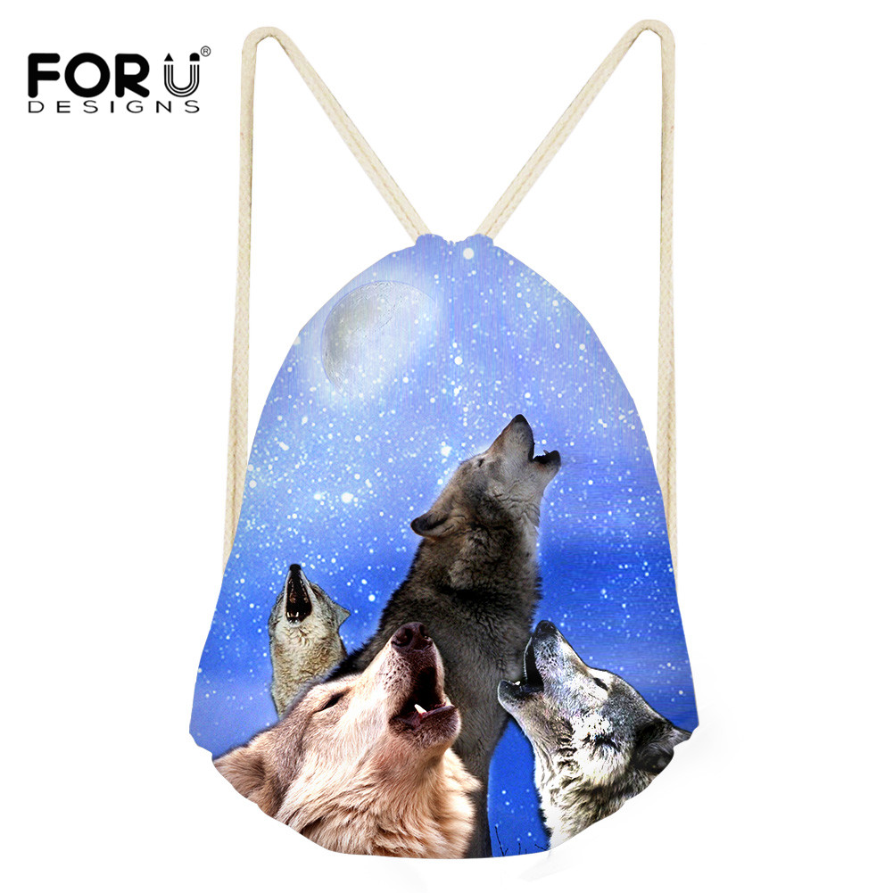 FORUDESIGNS 3D Printing Wolf Backpack Drawstring Bag For Men Sack Beach Travel Outdoor Shopping Storage Package Pouch Students