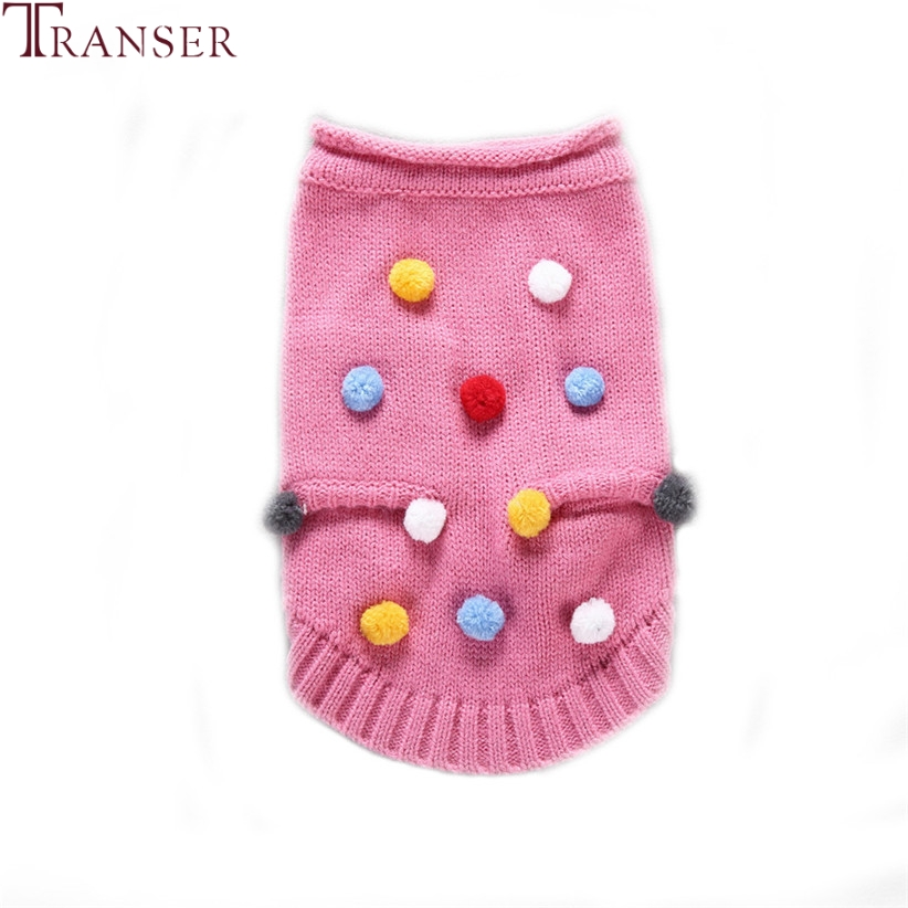 Transer Newly Design Dog Pink Sweater Winter Colorful Small Balls Decals Knit Pet Warm Coat 71103