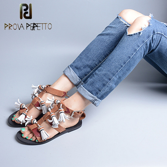 Prova Perfetto New Summer Women Flat Heel Tassels Sandals Genuine Leather Fringe Women's Casual Shoes Buckle Strap Beach Sandals phyanic 2017 summer new women sandals with chain women buckle strap flat platform summer casual shoes woman phy3413