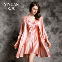 Sexy Lace Women Silk Nightdress Robe Sets Two Piece 100% Mulberry Silk Sleeping Dress Long Sleeve Bathrobe Lounge Set P9933