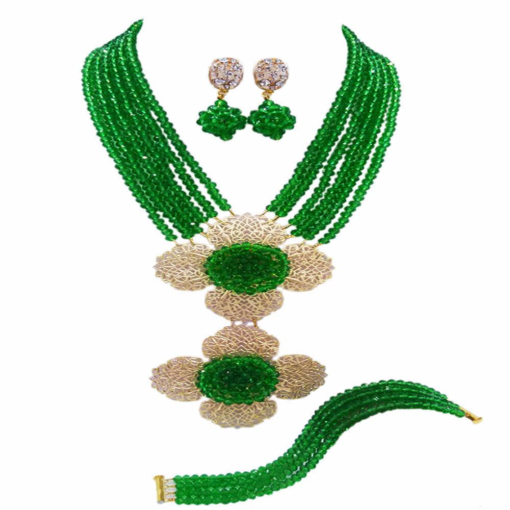 אופנה שרשרת שמירה על גדילים רב ירוק גביש סט תכשיטי חרוזים אפריקאים כלה ניגרית 5-LDH07