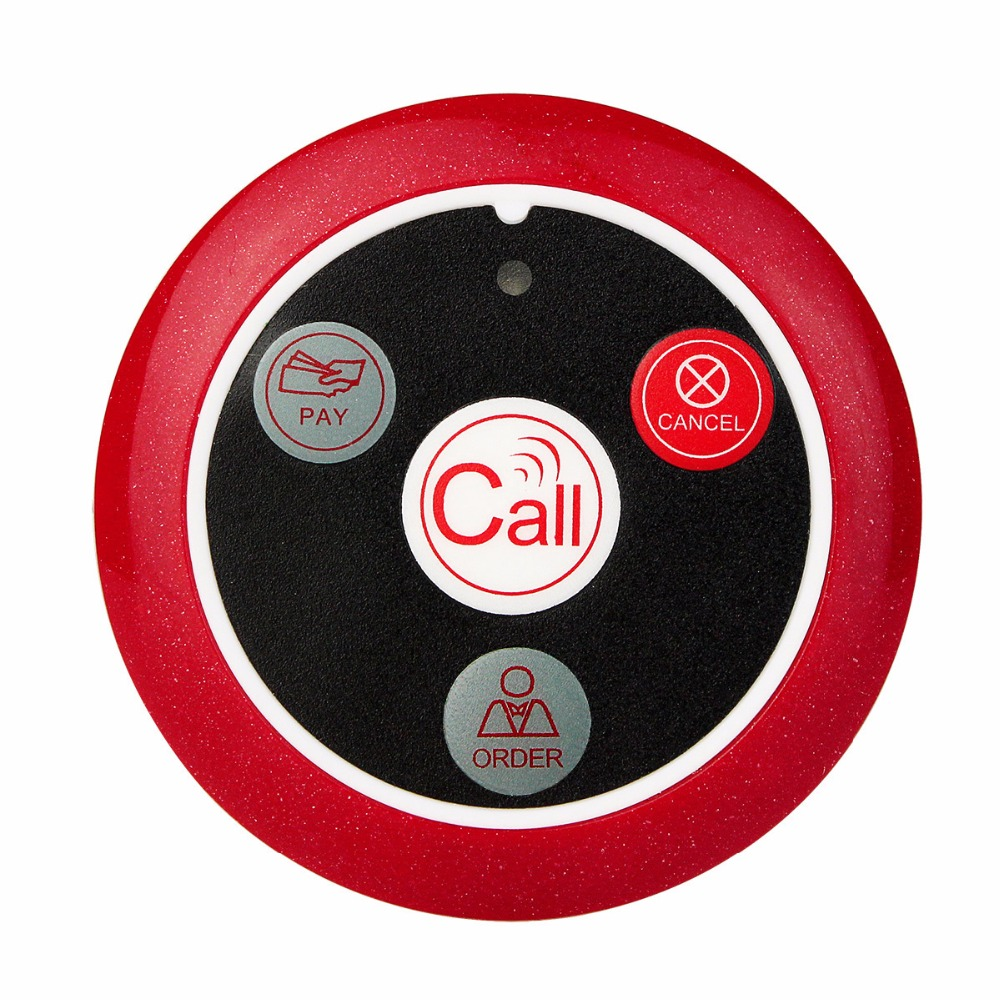 ФОТО 10 pcs 433MHz Wireless Cafe Spar Club Restaurant Service Waiter Calling Transmitter Button Call Pager Four-key F3285C