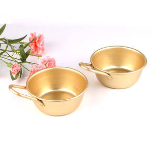 Wine-Cup Handle Rice-Bowl Gold-Color Aluminum Korean Traditional Round 1pc with for Makgeolli