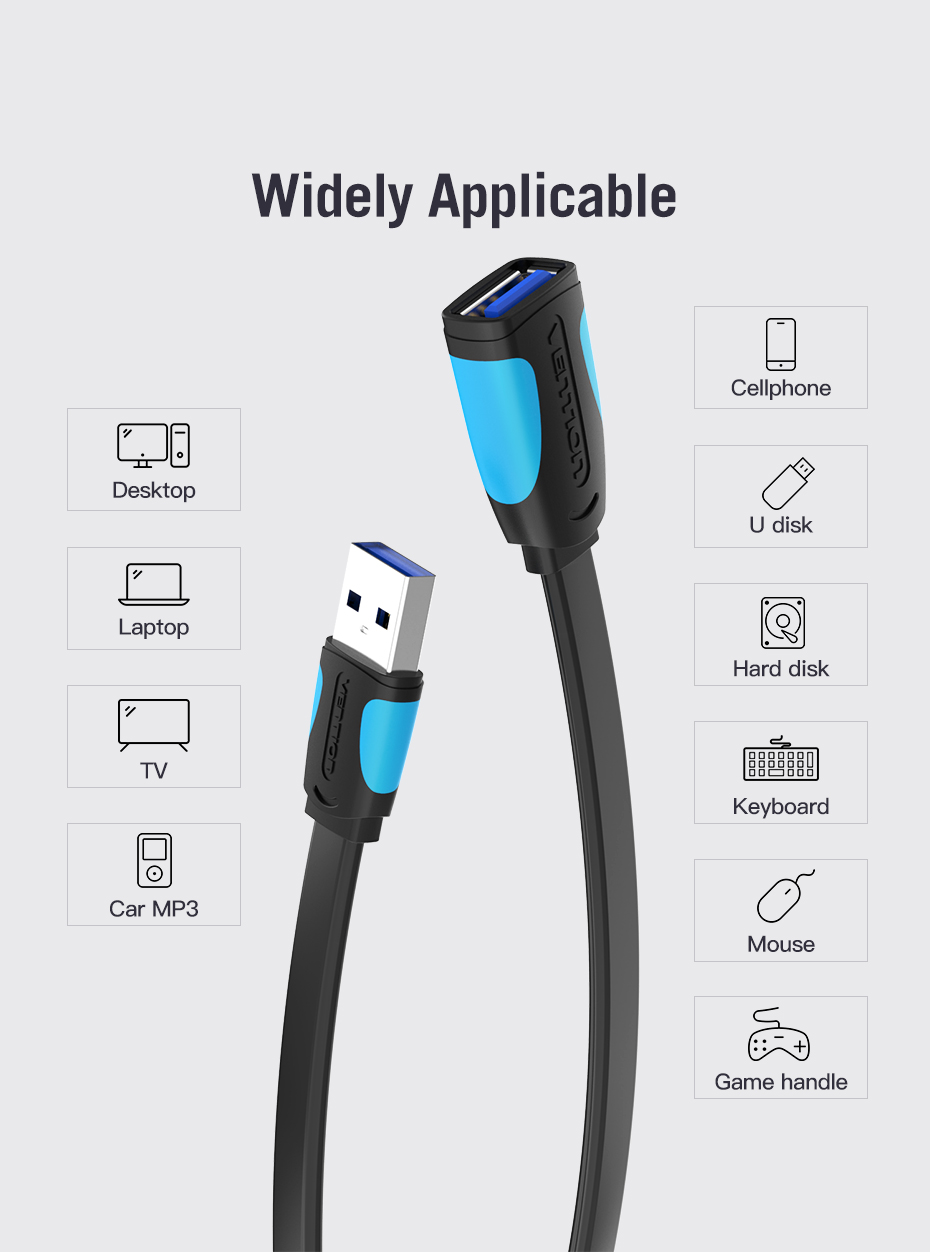 Vention Mini USB 2.0 3.0 Extension Cable Male to Female Extender Laptop PC Mobile 9