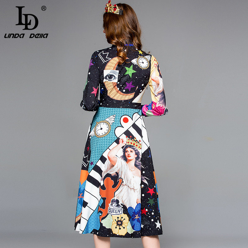 Image 4 - LD LINDA DELLA Autumn Fashion Designer Dress Women's Long Sleeve Gorgeous Printed Midi Slim Vintage Dress Lady vestido-in Dresses from Women's Clothing
