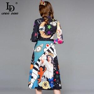 Image 4 - LD LINDA DELLA Autumn Fashion Designer Dress Womens Long Sleeve Gorgeous Printed Midi Slim Vintage Dress Lady vestido