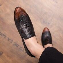 Allwesome Men Designer Snake Skin Genuine Leather Shoes Crocodile Pattern Brogue Oxford Dress Evening Formal