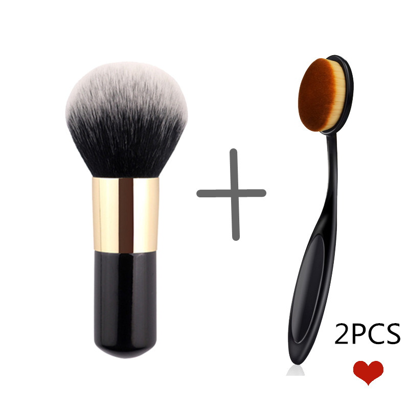 2PCS Big Size Makeup Brushes Cream for foundation Powder brush Set Soft Face Blush Brush Toothbrush Cosmetics Make Up Tools image