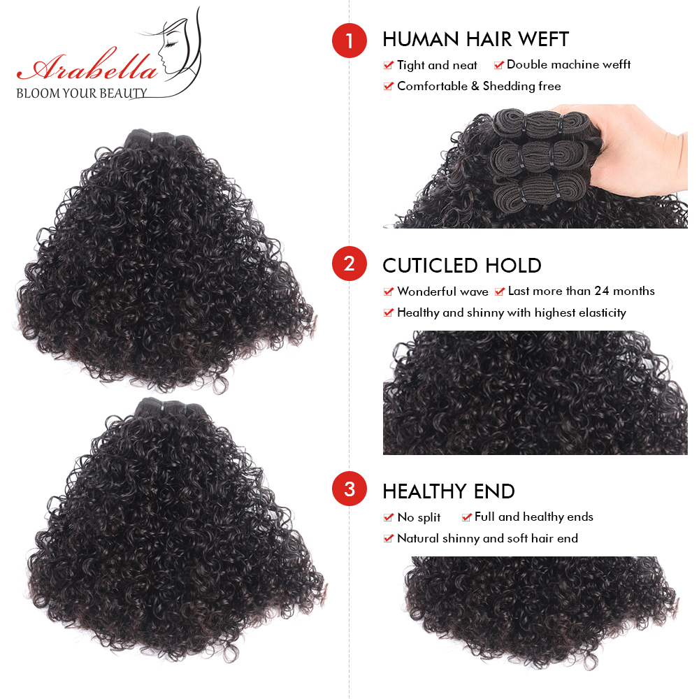 Image 4 - Curly Hair Weave Bundles 3 Pieces 100% Human Hair Extension Natural Color Arabella Remy Hair Bundles-in 3/4 Bundles from Hair Extensions & Wigs