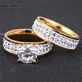 2pcs/Set,2017 New Fashion Gold Plated Stainless Steel Wedding Ring Set CZ Diamond Jewelry Women Men's Rings Couple Promise Gift