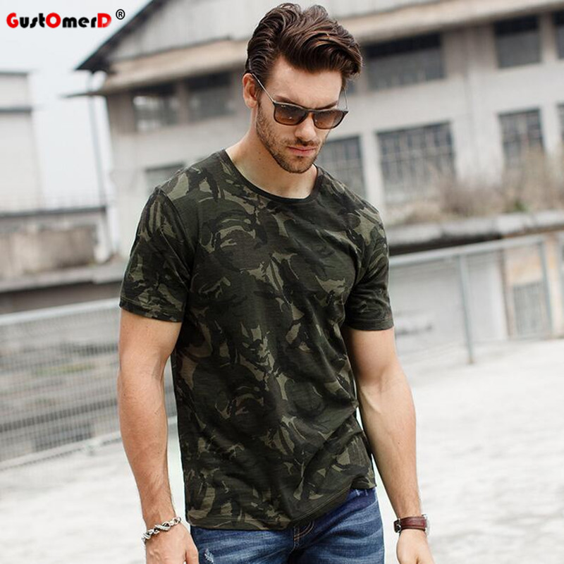 GustOmerD 2017 T-shirts Camouflage Zomer Modemerk Kleding Slim Fit T-shirt Mannen Korte Mouw O-hals Casual Tops Tees